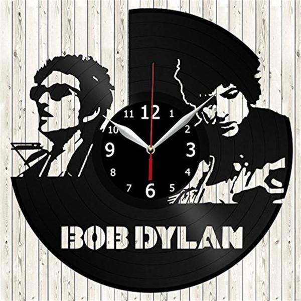 Bob dylan personality vinyl wall clock Simple modern home decor crafts creative handmade gifts Decor living room black quartz clock