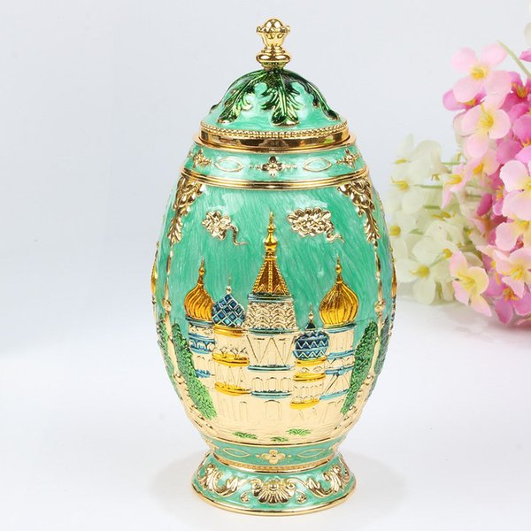 Light Blue Castle Flower Quality Fashion Classic Handmade Auto Automatic Toothpick Holder Royal Russian Style