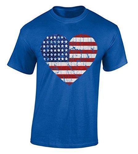 New Style Company Camisetas American Flag Heart T-shirt Día de la Independencia EE. UU. Bandera de la camiseta 100% algodón Jersey Camisetas de seguridad