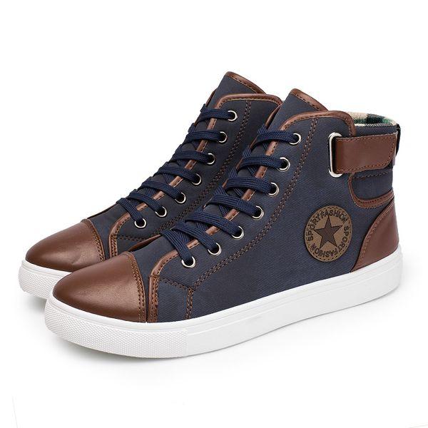 Высокая Верхняя Мужская Обувь Холст Мужчины Повседневная Обувь Для Мужской Обуви Мода Плюс Размер 45 46 47