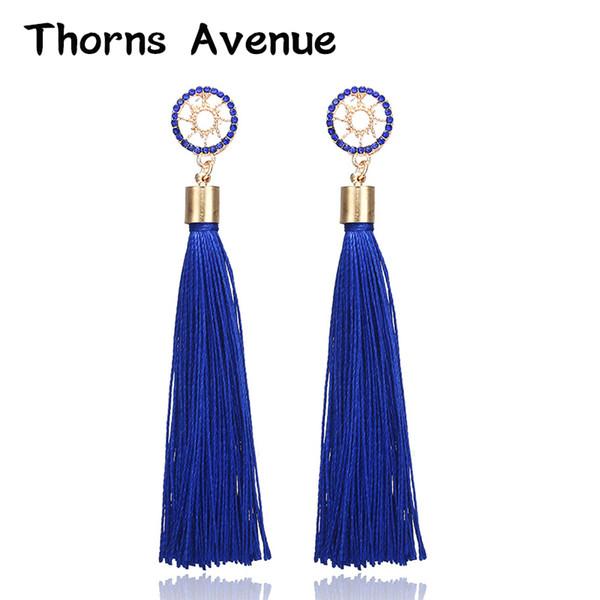 Thorns Avenue High Quality 6 Colors Long Tassel Europe Vintage Bohemia Drop Earrings Wedding Bridal Jewelry Earrings For Women