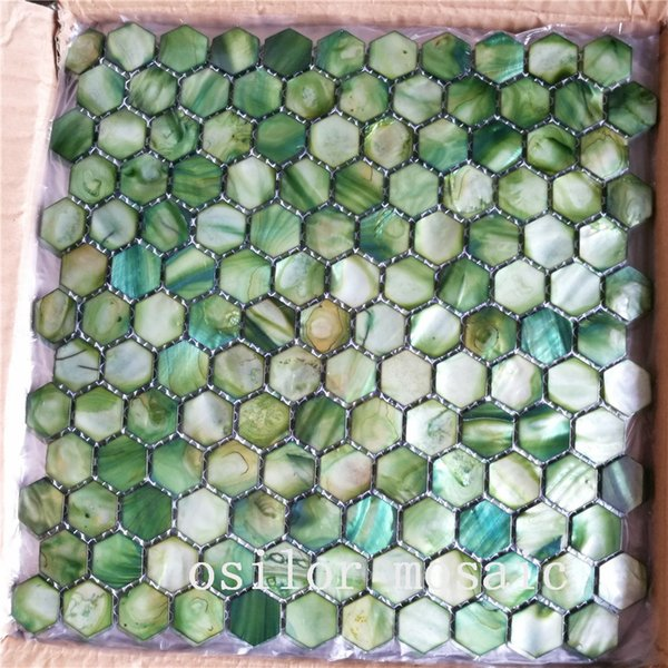 100% natural freshwater shell mother of pearl mosaic tile for house decoration wall tile hexagon style green color 2 square meters/lot