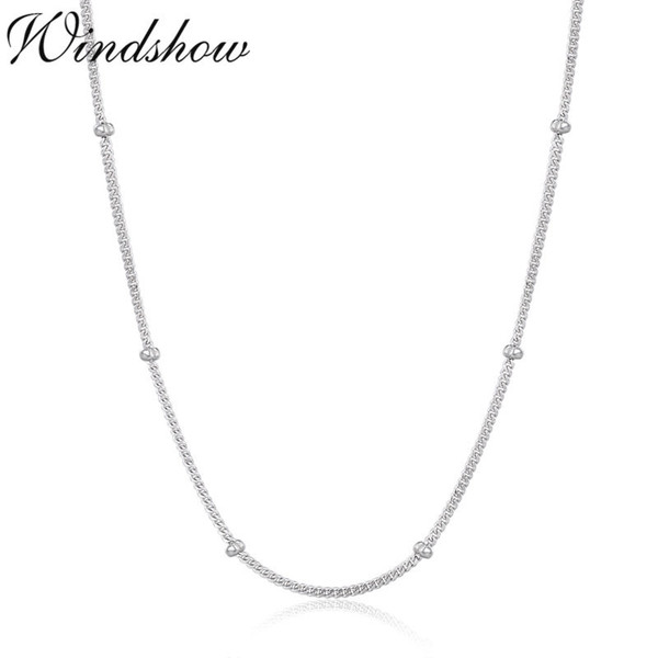 Slim 925 Sterling Silver Curb Beaded Chain Choker Necklaces Women Girls 40cm 45cm Jewelry kolye collares collane collier ketting