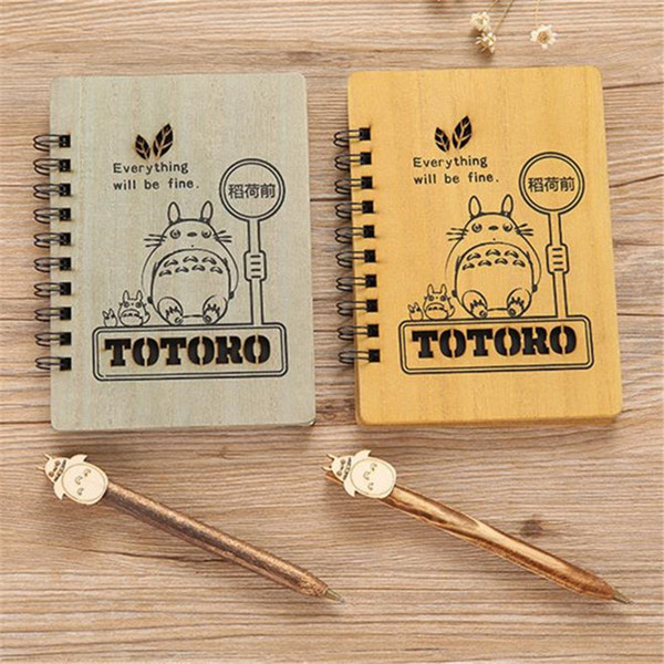 1pc/lot Wooden Anime Totoro NotWith Pen Set Wooden Diary Day Book Journal Stationery Wood Ballpoint School Supplies 18cm