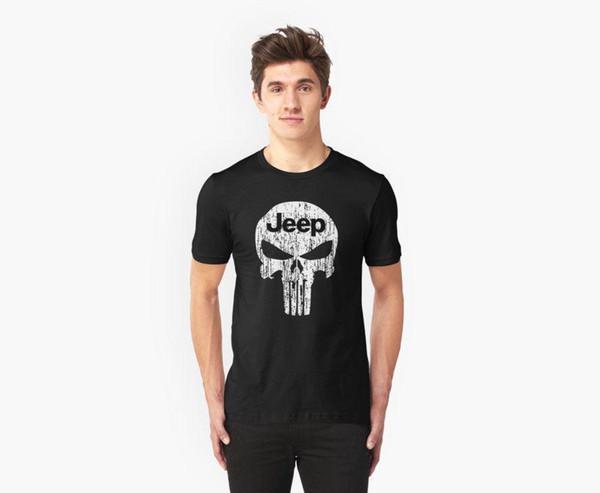 Tops de Verão Fresco Engraçado T Shirt Jeep Cabeça Punisher Crânio Motor 4x4 4wd Preto Camiseta Verão