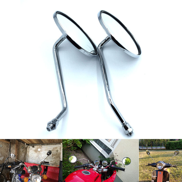 For round chrome dirt pit bike scooter rear view convex mirror moto side mirrors for vespa piaggio parts motorcycle rearview mirrorFor Moto