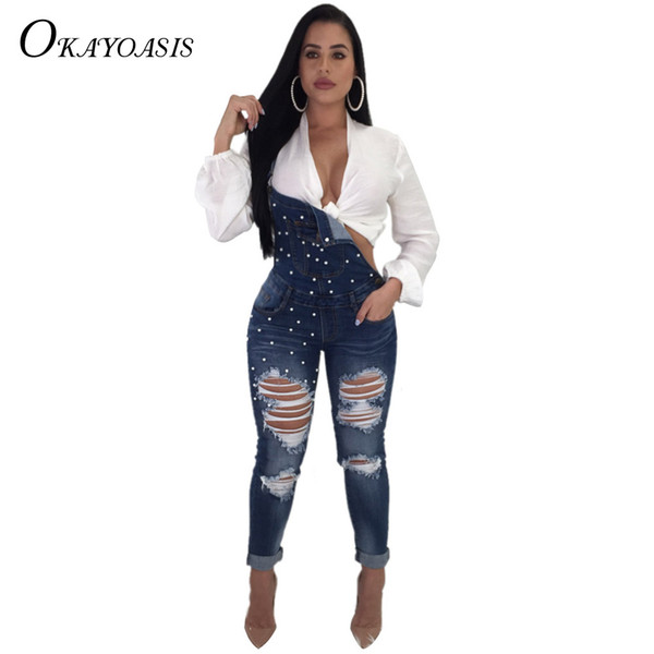 OKAYOASIS Fashion Denim Jumpsuits Women Slim Ripped Hole Overalls Female Clothing Long Jumpsuit Hollow Out Sexy Stretch Romper