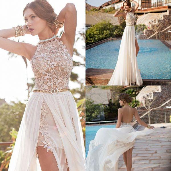 Halter Top in pizzo Sexy Backless Beach Prom Dresses Vita dell'impero Una linea che borda vita Split abiti da sera Boho Abiti DH528