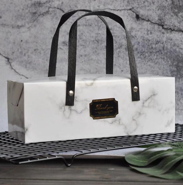 Diseño de mármol portátil cajas de pastel de papel caja de regalo bolsos de chocolate caja de galletas 25 cm * 9 cm * 9 cm