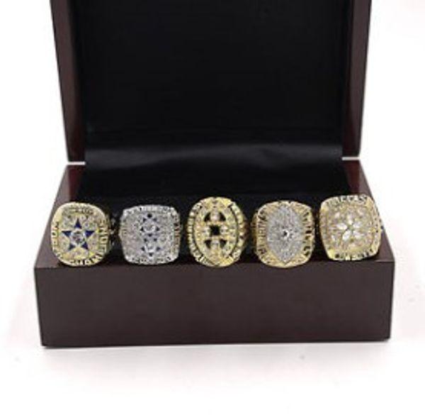 Hot new style 5pcs Dallas championship rings set wooden box display case men fashion for father's day boyftiend gift souvenir