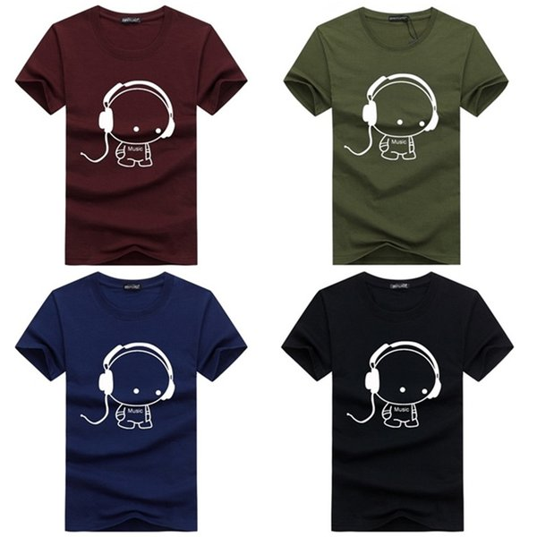 2018 Summer T Shirts Men Casual Brand T-Shirts Fashion Headset Music Cartoon Printed O-Neck TShirt Men Cotton Tee 2XL-5XL