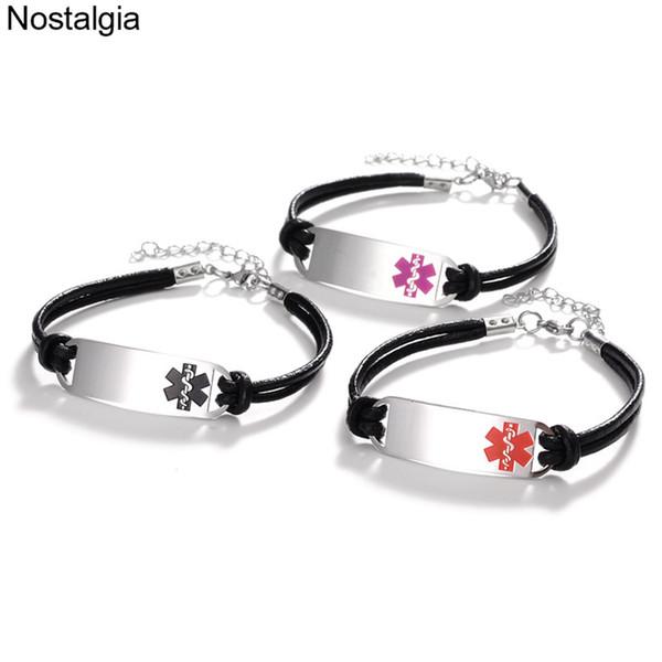 Nostalgia Alerta Médica Estrella de la Vida Joyería de Acero Inoxidable de Titanio Auxiliar Médico Charm Bracelet Hombres Mujeres Accesorios