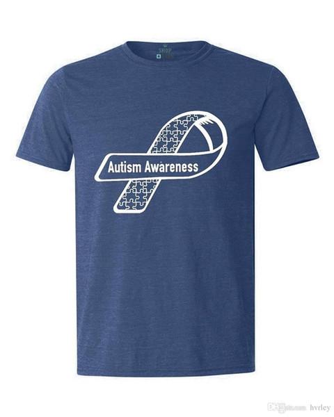 Novelty Design Men White Puzzle Ribbon Side T-shirt Autism Awareness Cotton t shirt slogans Customized shirts for mens