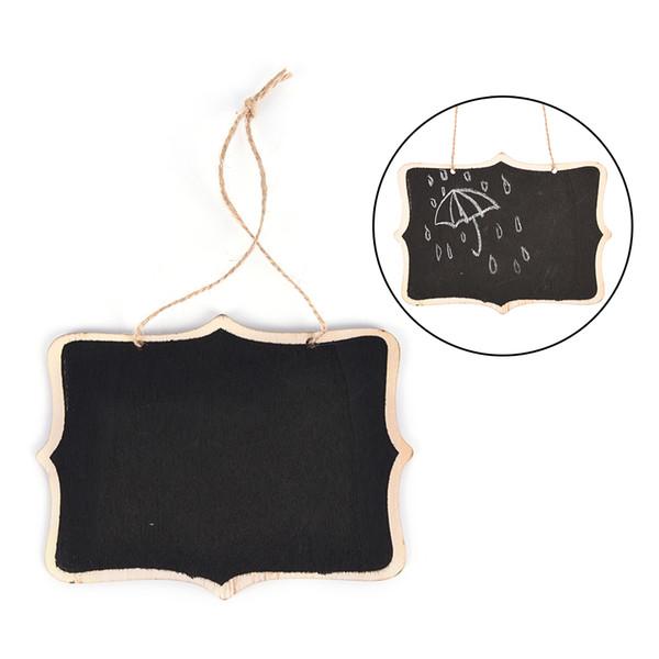 top popular Wooden Wall-mount Black Board With Rope Wood Blackboard Memo Message Board Size:12*16*0.25cm 2021