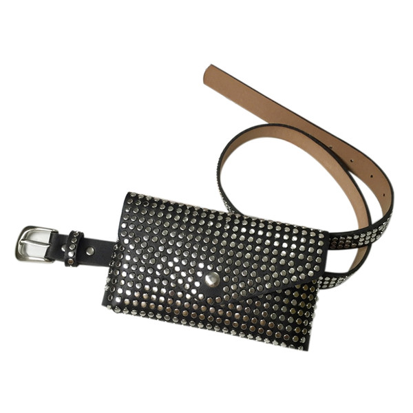 LJL Moda Perçinler Bel Paketi Lüks Tasarımcı Fanny Paketi Küçük Kadınlar Bel Çantası Telefon Kılıfı Punk Kemer Çanta Çanta (Siyah)