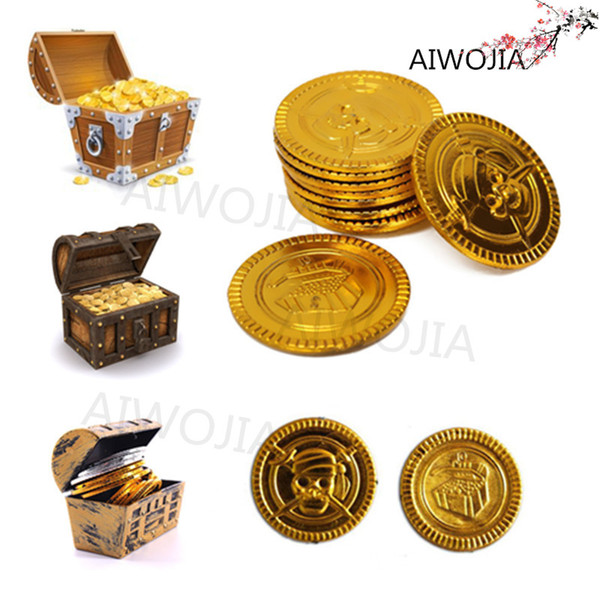 100&50Pcs Plastic Captain Pirate Treasure Gold Coins Props Toys for Halloween Party Cosplay Kids Fun for Hours 9ZHH204