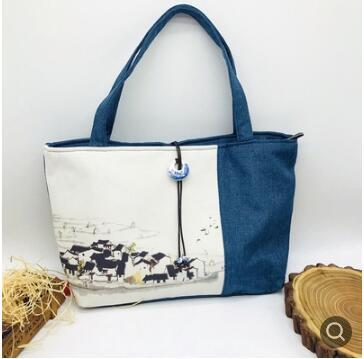 Hand-painted Chinese style linen Hanfu bag blue and white porcelain buckle shoulder shoulder flower mosaic cotton canvas bag