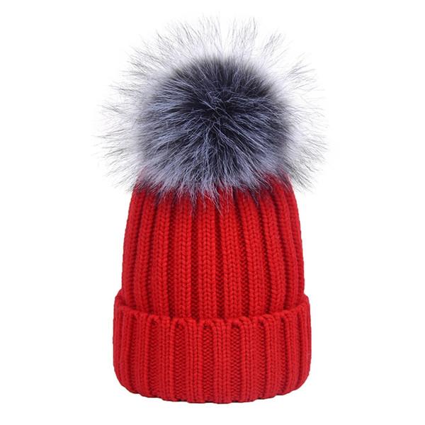 Fox Fur Ball Winter Fur Hat Caps Pom Poms Ball Knied Beanies Cap Cute Women Men Unisex Faux Hats Female Touca inverno