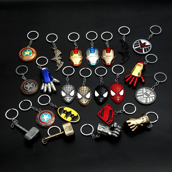 10pcs Metal Marvel Avengers Captain America Shield Keychain Spider man Iron man Mask Keychain Toys Hulk Batman Key Car Pendent