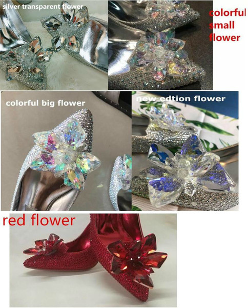 Top Grade Cinderella Crystal Womens Shoes Bridal Rhinestone Wedding Shoes With Flower Genuine Leather Big Small Size 33 34 To 40
