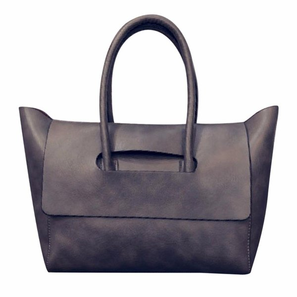 Wholesale- 2016 Fashion New Women Tote Bag High Capacity Female Trapeze Tote Famous Brand OL BUsiness PU Leather Handbags Black Brown Gray