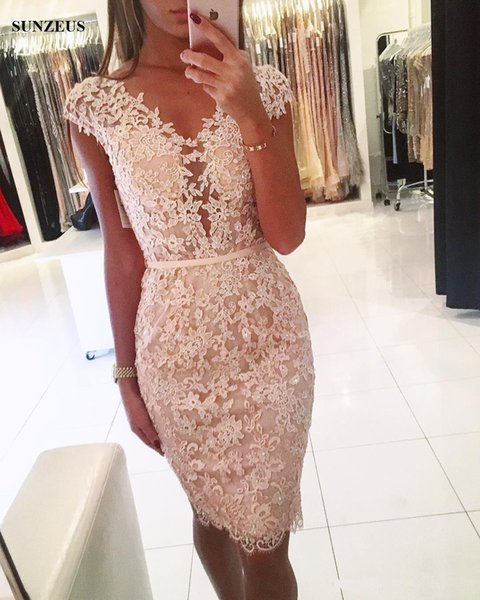Straight Cap Sleeve Knee Length Cocktail Dress Short Sleeves Appliques Lace Party Gowns Beaded Formal Wear vestidos para Graduacion Dresses
