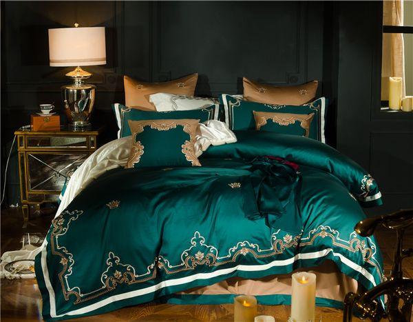 Verde Rosso Luxury Gold Reali ricamo 80S cotone egiziano 4 / 7pcs Bedding Set Regina re Duvet copertura del lenzuolo / Federe Biancheria