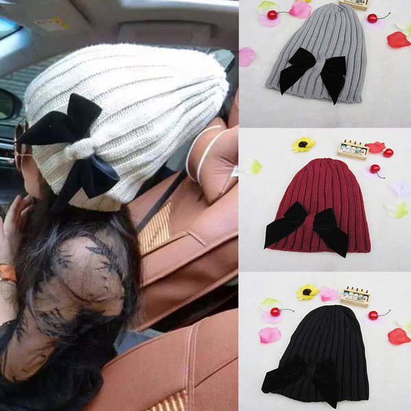 Baby Hat Cute Big Bow Knitted Wool Cap Autumn Winter Warm Solid Color Kids Beanie Girls Princess Hats Bonnet