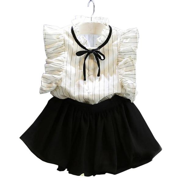 AiLe Tavşan Kore Moda Yaz Bebek Çocuk Bebek giysileri Güzel Kız Prenses T-Shirt + etek Çocuk Giysileri Set