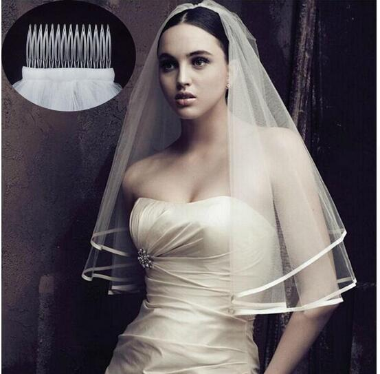 2019 New Arrival Wedding Accessories Two Layer Ribbon Edge White Ivory Wedding Veils Bridal Veil With Comb