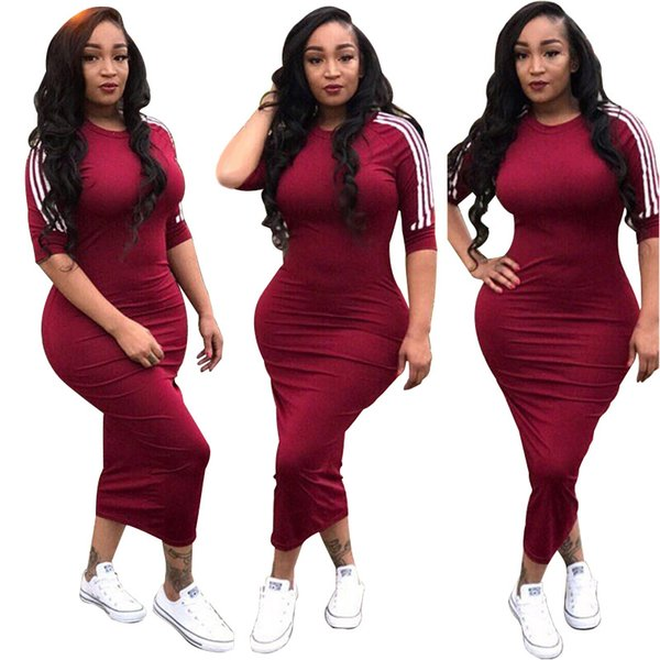 Hot sale White Side Stripe Streetwear Bodycon Dress 2018 Summer Women Half Sleeve Plus Size Dress Sexy High Waist Long Vestidos
