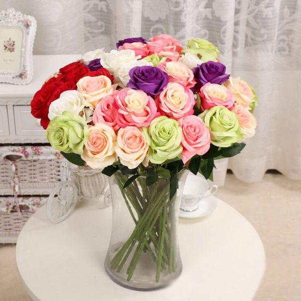 10pcs/ Bouquet Silk Artificial Rose Bridal Wedding Bouquets 7 Colors Rose Flowers New Home Party Decor Wedding Decoration 6.7