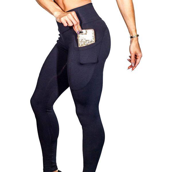 Vertvie Running Sport Pantalones de yoga Entrenamiento Fitness Leggings delgados Un lado Teléfono móvil de bolsillo Cintura alta Pantalones deportivos 2018