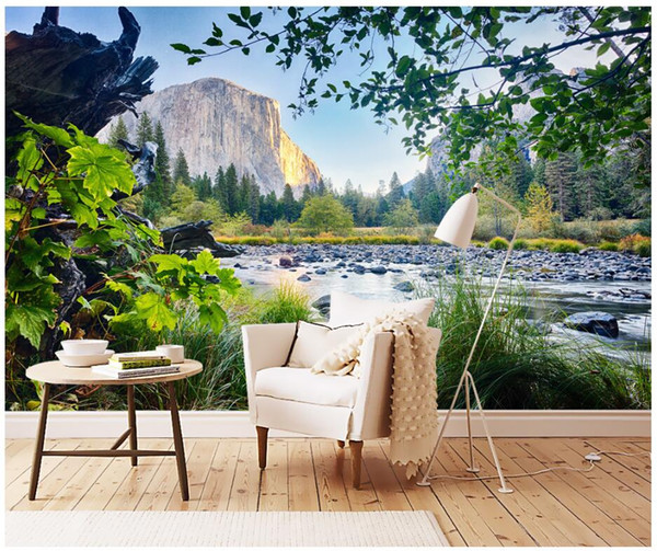3d wallpaper custom photo mural Dashan Snow Mountain Creek Scenery tv background wall room painting 3d wall murals wallpaper for walls 3 d
