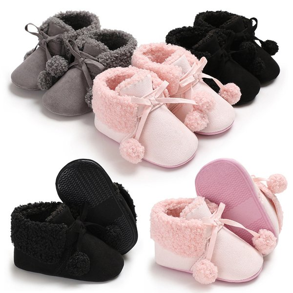 Baby coral fleece boots Kids Shoes soft bottom thick warm Infant Toddler girls shoes booties Kids crib shoes first walkers