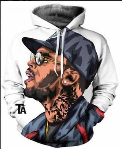 Couples Mode nouveaux hommes / femmes unisexe Chris Brown drôle 3D Imprimer hoodies Sweat extérieur M-5XL WE20