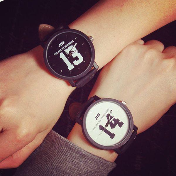 Fashion Couple Watches 13 14 Popular Casual Quartz Women Men Watch Lover's Gift Clock Boys Girls Wristwatch