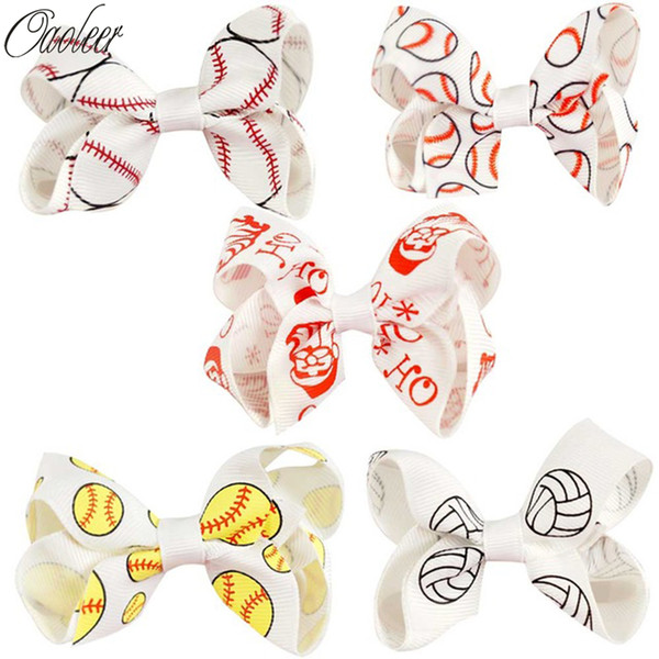 Halloween Hair Bows With Clips For Women 3 Inch Ribbon Alligator Hair Bows Print Baseball For Halloween Kids Hair Bow 10pcs /Lot Gifts