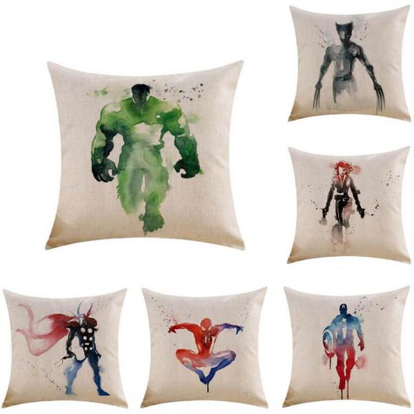 45 * 45 cm Funda de cojín Heroes Dibujos animados Acuarela Mosaicos Avengers Funda de almohada cuadrada
