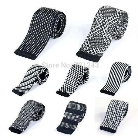 Erkekler için örme Ince Bağları Rahat Dokuma Polyester Sıska Kravatlar Moda Çizgili Mans Boyun kravat düğün Ücretsiz Nakliye için