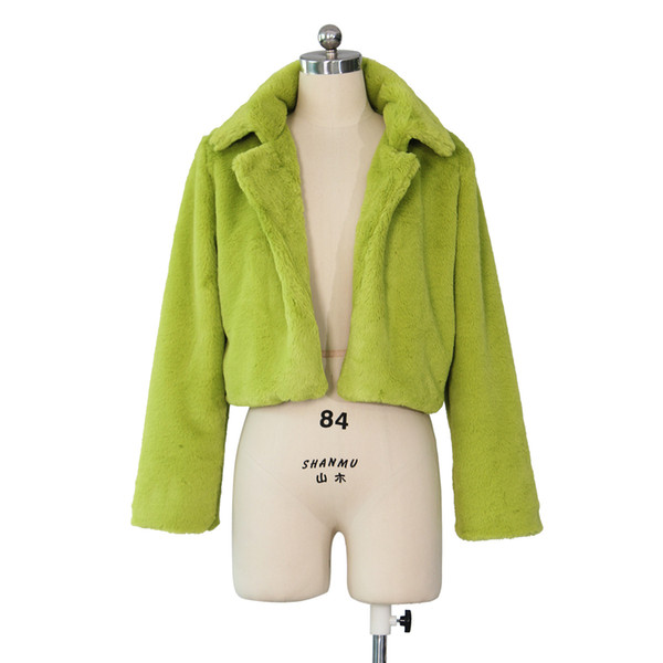 Fashion Party Faux Fur Coat Women White Green Burgundy Blue Elegant Shaggy Winter Fur Coat Jacket Plus Size Short Overcoat