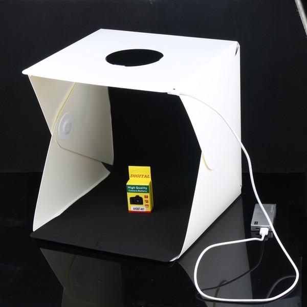 2016 NEUE Große (40x40x40 cm) Folding Studio Diffuse Softbox mit LED-Licht Schwarz Weiß Hintergrund Fotostudio Zubehör