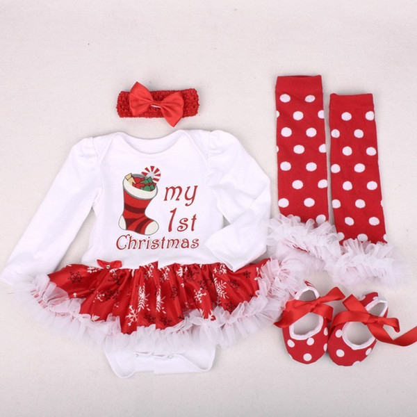 Hot Sale My First Christmas Baby Girls Romper Newborn Santa Claus Jumpsuits Infant Babies Bebe Cloth Baby Costume Dress Outfits Y18102907