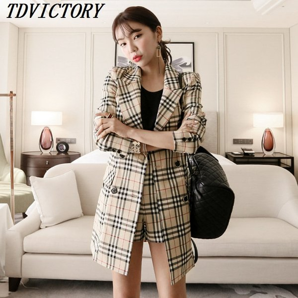 TDVICTORY Korean 2018 Autumn Formal Pant Suits Women OL Two Piece Set Double-breasted Slim Long Blazer Coat and Plaid Shorts Set