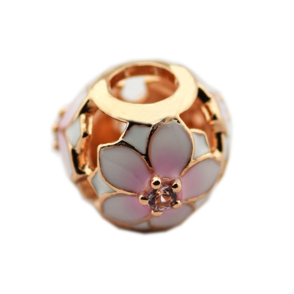 2018 New Magnolia Bloom Charms Fits Pandora Bracelets Diy Charms Authentic 925 Sterling Silver Rose Color Beads for Jewelry Making