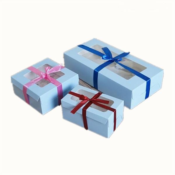 20pcs Large Brown Muffin packaging 6 cupcake boxes 8,Kraft paper gift cake box with pvc window, 4 cupcake packing craft paper box free shipp