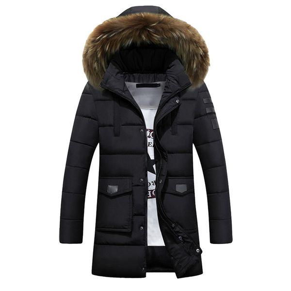 2018 зима толстые теплые мужские длинные ватник с капюшоном фугу пальто реального меховой воротник куртка Homme 3XL 4XL плюс размер Chaquetas Hombre