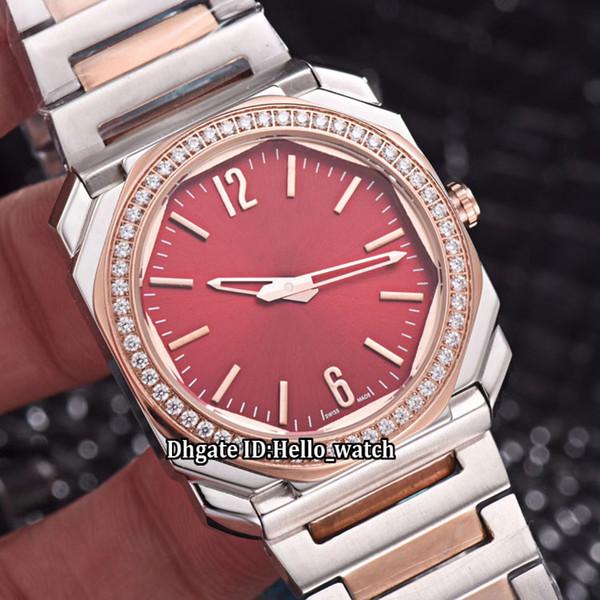 Octo Solotempo 102854 Wine Red Dial Swiss Quartz Womens Watch Diamond Bezel Two Tone Rose Gold Steel Bracelet Sapphire Fashion Lady