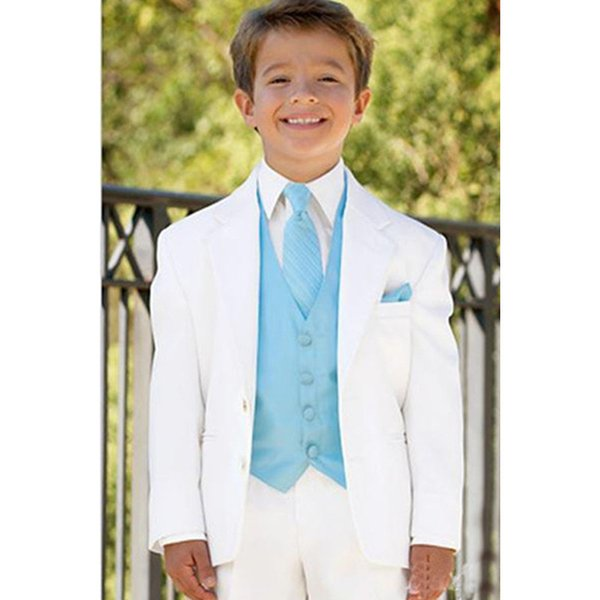 White Boys Suits for Wedding Prom Boy Suits Formal Costumes for Boys Kids Tuxedo Children's Blazer Clothes 3 (Jacket+Pants+Vest)