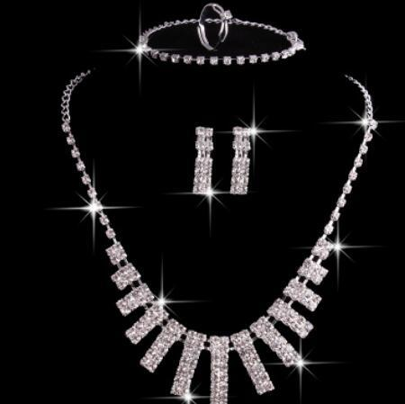 designer jewelry set for women wedding jewelry crystal necklace bracelets earrings rings hot fashion free of shipping